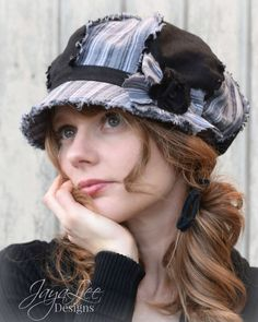 Shabby Linen Newsboy Hat in Black and Gray by GreenTrunkDesigns