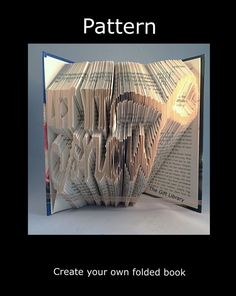 Book Folding PATTERN to create your own folded book art ~christmas Let it Snow