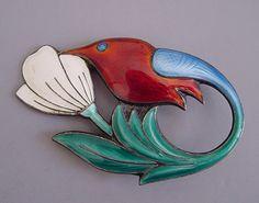 DAVID-ANDERSEN Norway sterling enameled hummingbird and flower brooch, circa 1950,