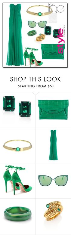 """THAT MEAN GREEN SWAG #GOGREEN"" by g-vah-styles ❤ liked on Polyvore featuring CARAT* London, Givenchy, Alexander McQueen, Aquazzura, Cutler and Gross, Palm Beach Jewelry and Marina B"