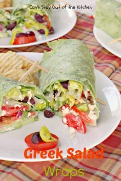 Greek Salad Wraps - terrific #Greek #salad taste but in a #wrap instead! #sandwiches via Can't Stay Out of the Kitchen