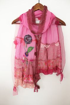Pink scarves women's cotton shawls forest pink by Nazcolleccolors