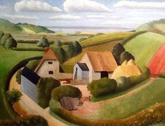 'Isle of Wight' - oil on canvas  Painted by Osbert Lancaster c.1950