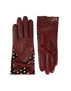 Dents Red + Black + White Polka Dot Bow Detail Leather Gloves
