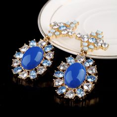 Graceful Royal Blue Dangle Earrings