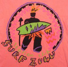 Vintage 90's Zulu Surf Club neon aztec surfer t-shirt XL (Etsy: EmeraldCityRetro)