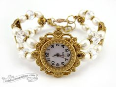 Beaded Bracelet Watch  white cream Freshwater by OohlalaBeadtique, $25.00