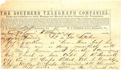 telegram about Stonewall being wounded 1863.