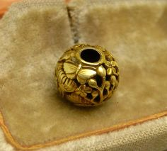 Antique 19th Century Japanese 14K Gold Ojime Bead Butterfly  # 8 Netsuke 10MM BY 12MM ..WEIGHS 2.6 GRAMS Sold 5/25/16 eBay $886.00