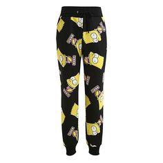 Bart Simpson Printed Drop Crotch Sweatpants ($25) ❤ liked on Polyvore featuring activewear, activewear pants, pants, joggers, black, drawstring sweatpants, comic book, jogger sweatpants, jogger sweat pants and sweat pants