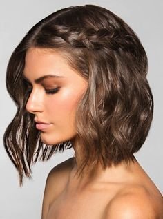 Cool side braid with a short bob
