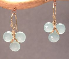 Victorian 122 Sea blue chalcedony earrings by by CalicoJunoJewelry