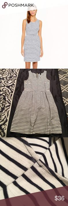 "J. Crew striped back-zip dress Excellent condition - some minor wear near the armpits shown, no other flaws. Has pockets!!! Cotton/spandex blend. Exposed back zipper. Bust lying flat 16.5"", waist 14.5"", length 35"" J. Crew Dresses Midi"