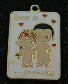Love is For Sharing Gold Tone Pendant by COLLECTORSCENTER on Etsy