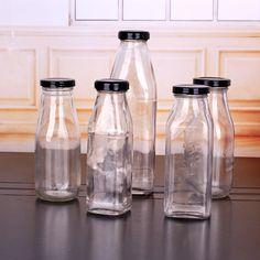 Square Glass Beverage Bottle & Juice Bottle Boba Smoothie, Juice Bottles, Mason Jars, Beverages, Glass, How To Make, Drinkware, Mason Jar, Glass Jars