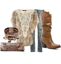 Love this shirt...Trade the faux cowgirl boots for some real boots and this outfit would be perfect! lol