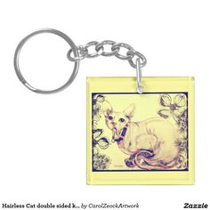 Hairless Cat double sided key chain