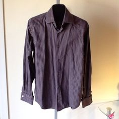 Men Banana Republic Striped French Cuff Style Shirt Size M 15/15.5 in Clothing, Shoes & Accessories   eBay
