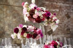 pink, maroon and cream centerpieces