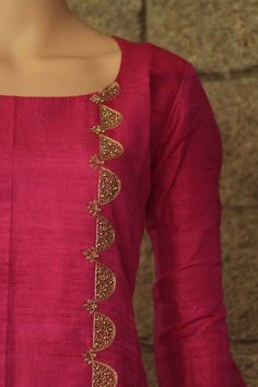 Best 11 Liquid embroidery with beads design on kurti – ArtsyCraftsyDad Salwar Neck Designs, Churidar Designs, Neck Designs For Suits, Kurta Neck Design, Dress Neck Designs, Kurta Designs Women, Blouse Designs, Embroidery On Kurtis, Hand Embroidery Dress