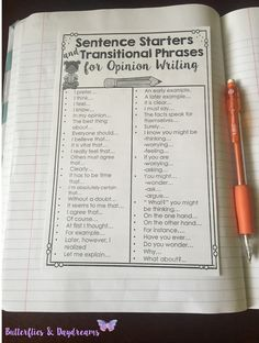 Sentence Starters and Transitional Phrases for Opinion Writing {Opinion Writing Unit for Grades 3-5}  Writing Notebook Anchor Charts, Writing Center Anchor Charts, Graphic Organizers, Writing Planners, Rubrics, & Checklists