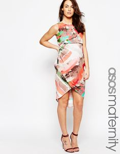 ASOS+Maternity+Drape+Front+Midi+Dress+In+Abstract+Stripe+Print