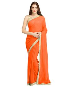 Fashionesta Orange Georgette Embroidery Design Saree