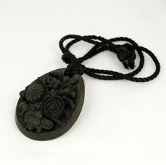 Victorian Mourning Pendant Necklace Carved Flower by mybooms, $185.00