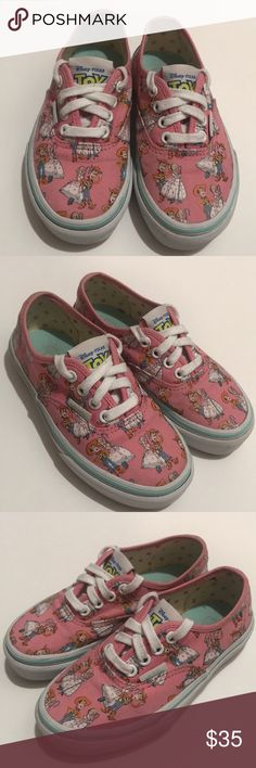 ddee92d7fc Shop Kids  Vans Pink White size Sneakers at a discounted price at Poshmark.  Description  Disney Pixar Toy Story Pink Vans Woody Bo Peep Toddler Shoes  Size ...
