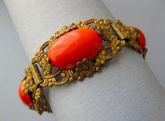Vintage 1930's Art Nouveau Deco Coral Glass Flower Bracelet   eBay