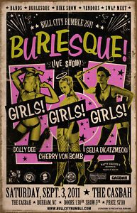 burlesque show poster Burlesque Movie, Vintage Burlesque, Cabaret, Rockabilly, Crime, Pulp, Psychobilly, Concert Posters, Gig Poster