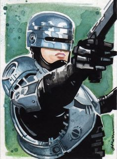 This is a GREAT Robocop watercolor sketchcard that kicks out the old-school jams!