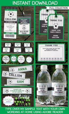 Type your own text into this HUGE Soccer printable collection that includes Game Ticket Invitations & All Star Passes plus loads more! Instantly