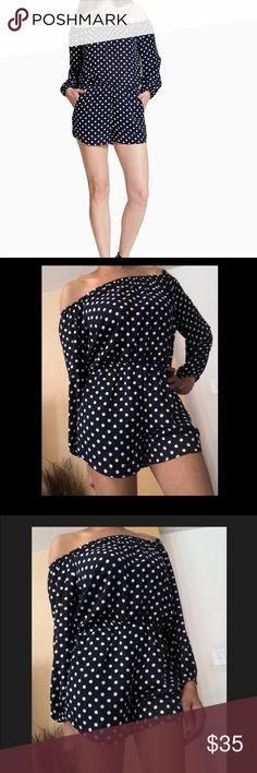 Navy Polka Dot Romper Get ready for summer in this nautical romper. Off the shoulder. Great for a boat, the beach, the vacation and casual wear. This is navy although the color is showing up black in photos. Shameless Pants Jumpsuits & Rompers