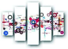 DecoArt24.pl Pięcioczęściowy obraz na płótnie zatytułowany Graficzna abstrakcja.  Autorstwa: Anson Tsui Cena 299.00