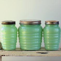 Anchor Hocking Jadeite Jadite Shakers Grease Jar Set. $134.00, via Etsy.