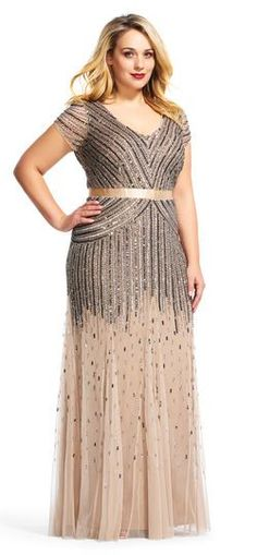 Adrianna Papell | Beaded V-Neck Gown - plus size