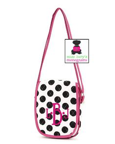 perfect for our teen/tween customers!  (http://misslucysmonograms.com/white-with-black-polka-dots-and-hot-pink-trim-quilted-hipster-cross-body-bag/)