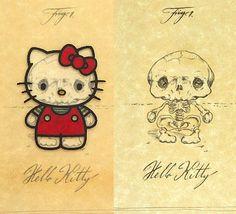 Anatomy of Hello Kitty-Kinda Creepy Kawaii, Crane, Chat Hello Kitty, Pikachu, Weird Creatures, Cartoon Characters, Memes, Just In Case, Original Artwork