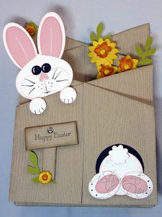 Stampin' Up! ... handmade Easter card  ... double cascade format ... from Fiona's Crafting ... kraft base stamped with wood grain ... punch art bunnies ... peeking over top and back side jumping into the bunny hole ... cute card!