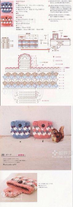 Ví Clutch En Crochet, Crochet Wallet, Crochet Coin Purse, Crochet Purse Patterns, Crochet Purses, Crochet Gifts, Crochet Bags, Crochet Diagram, Crochet Chart