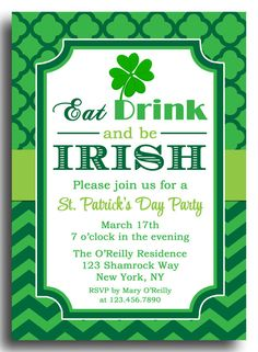st patricks day invitation printable or printed with free shipping eat drink and be irish