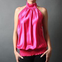 Women Smocked Glam Sleeveless Silky Satin Halter Blouse Office Cocktail Tank Top | eBay