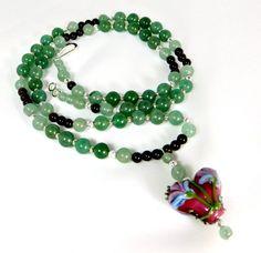 Garnet Green Aventurine and Lampwork Glass Heart by BeadsGalore2, $38.00