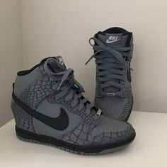 Nike ID Dunk Sky High Wedge Sneakers Shoes 747283-994 Gray Black Crocodile EUC #Nike #FashionSneaker
