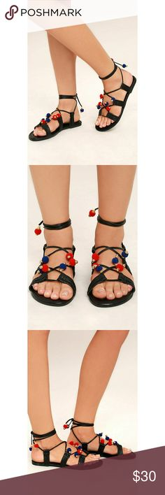 """NIB! Madden Girl Bailee Lace Up Pom-pom Sandals Complete your festival outfit with the Madden Girl Baliee Black Lace-Up Pompom Sandals! These music-lovin' sandals have a peep-toe, cutout faux leather straps, and long tying laces adorned in blue, red, and gold pompoms.  0.25"""" rubber heel.  Cushioned insole.  Flocked, nonskid rubber sole.  Man made materials.  Imported. Madden Girl Shoes Sandals"""