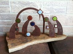 Christmas Nativity Scene made from Metal Set In Flag Stone Home Decoration - Indoor Out Door Decor