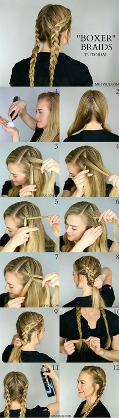Best Hair Braiding Tutorials - Dutch Boxer Braids - Easy Step by Step Tutorials ., Best Hair Braiding Tutorials - Dutch Boxer Braids - Easy Step by Step Tutorials for Braids - How To Braid Fishtail, French Braids, Flower Crown, Side . French Braid Hairstyles, Braided Hairstyles Tutorials, Girl Hairstyles, Trendy Hairstyles, Hairstyle Ideas, Gorgeous Hairstyles, Popular Hairstyles, Easy Hairstyles For Medium Hair For School, Casual Braided Hairstyles