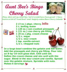Aunt Bee's Bingo Cherry Salad/ when you have the cookbook in your collection and forget about using it, and then discovering it on pinterest