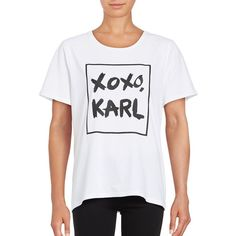 Karl Lagerfeld Paris Women's Short Sleeve Text Graphic Tee ($40) ❤ liked on Polyvore featuring tops, t-shirts, white black, karl lagerfeld tee, black and white top, graphic t shirts, karl lagerfeld t shirt and graphic design t shirts